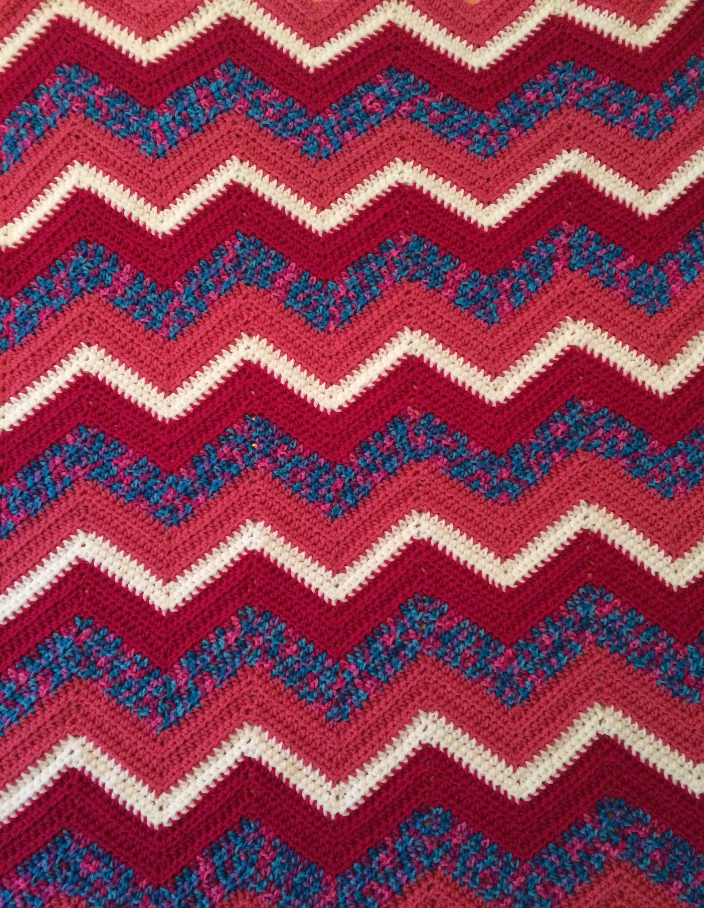 Crocheted ripple baby blanket 30\
