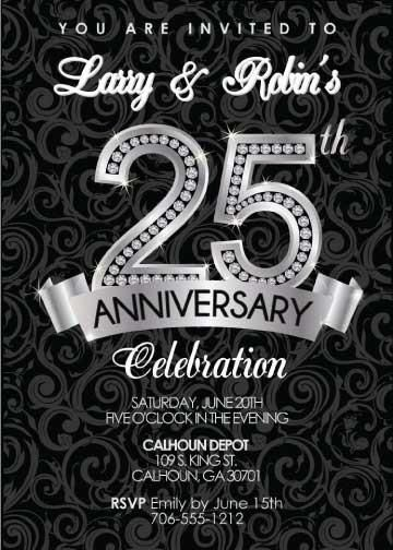 Diamond 25th anniversary invitation anniversary invitations 25th diamond 25th anniversary invitation stopboris Images
