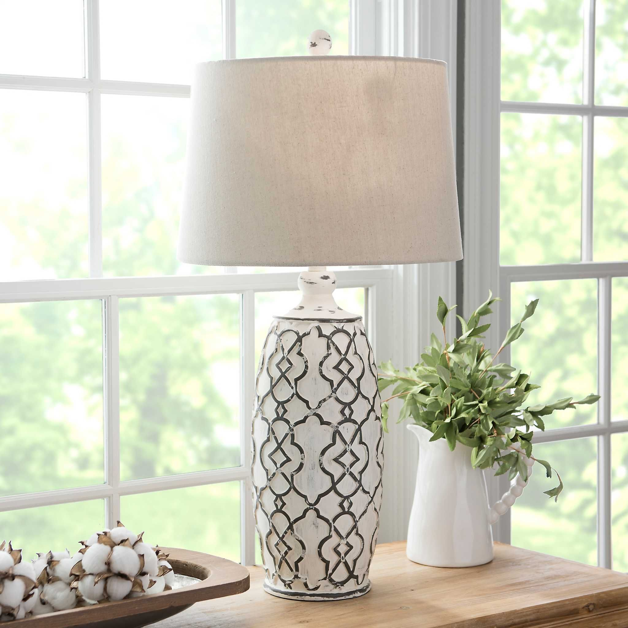 Distressed cream lilly table lamp farmhouse table lamps
