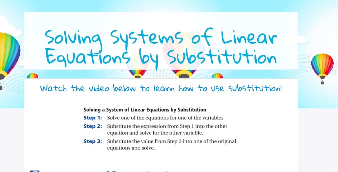 Substitution: This lesson allows students to practice solving ...