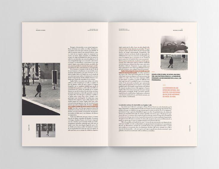 """Fascículo editorial acerca de Sophie Calle, realizado para la colección """"Hacedores de Mundo"""" en el cuál se realizó una investigación, selección y edición del contenido.El concepto del diseño se basó en como la artista se ve reflejada al observar desde el… #editoriallayout"""