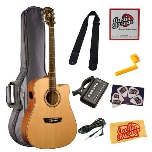 Washburn Wd10sce Dreadnought Cutaway Acoustic Electric Guitar Bundle With Gig Bag 10 Foot Instrument Cable Tuner Acoustic Electric Guitar Guitar Instruments