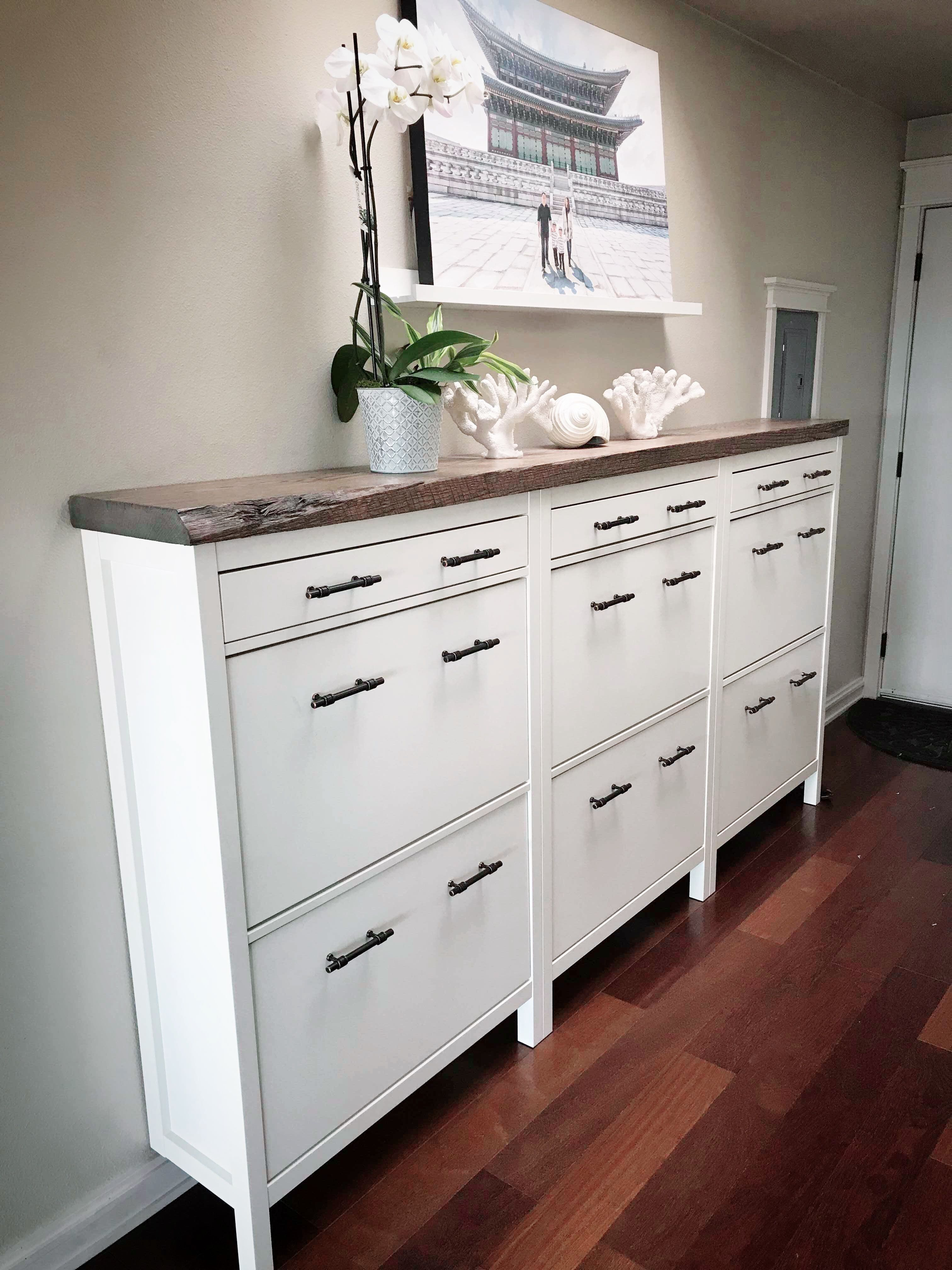 HEMNES Shoe cabinet with 2 compartments - white 35x50