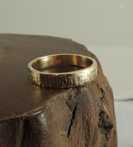 4mm 14k Yellow Gold Mens Wedding Band Textured Matte Handmade
