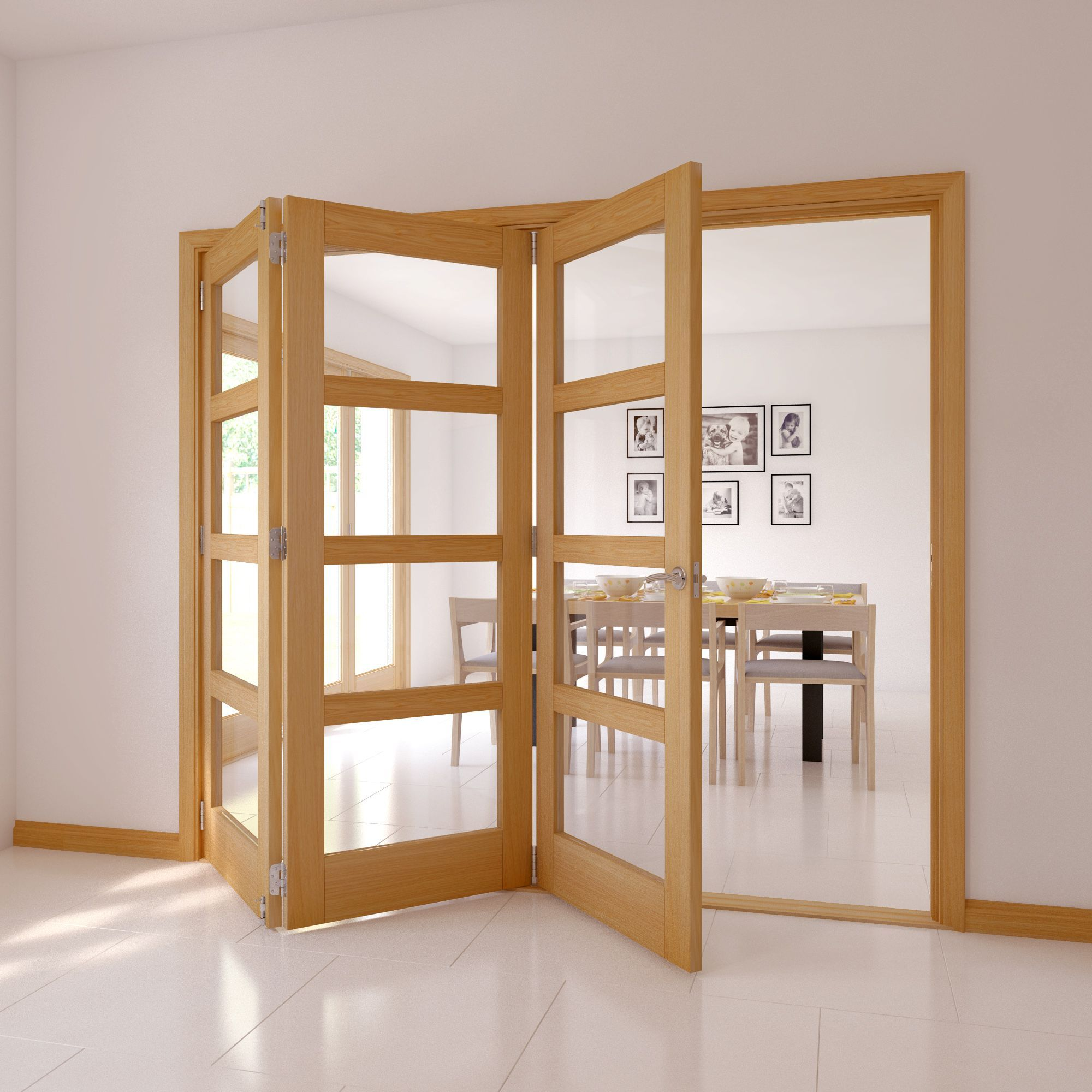 4 Panel 4 Lite Oak Veneer Glazed Internal Trifold Door H 2035mm W 2374mm Departments Diy At B Q Internal Folding Doors Folding Doors Internal Doors