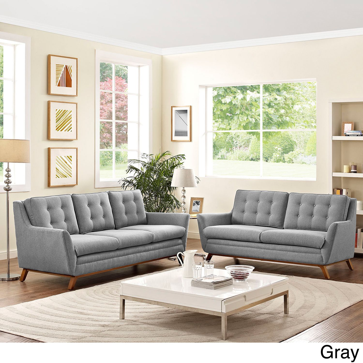 Modway Beguile Tufted Fabric Sofa and Loveseat Set (Gray