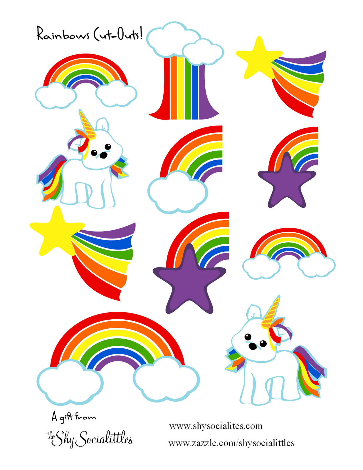 Free Rainbow And Unicorns Sticker Printable