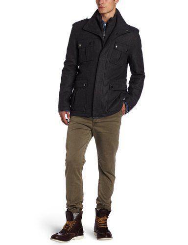 a904f7d1f7c2 New Mens Michael Kors Burlingame Charcoal Wool Military Style Coat Jacket