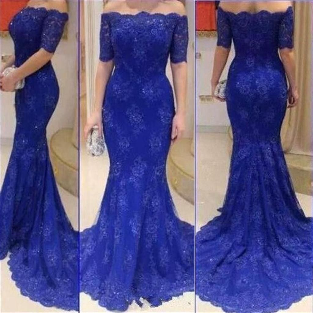 Long royal blue short sleeves off shoulder mermaid lace sexy formal