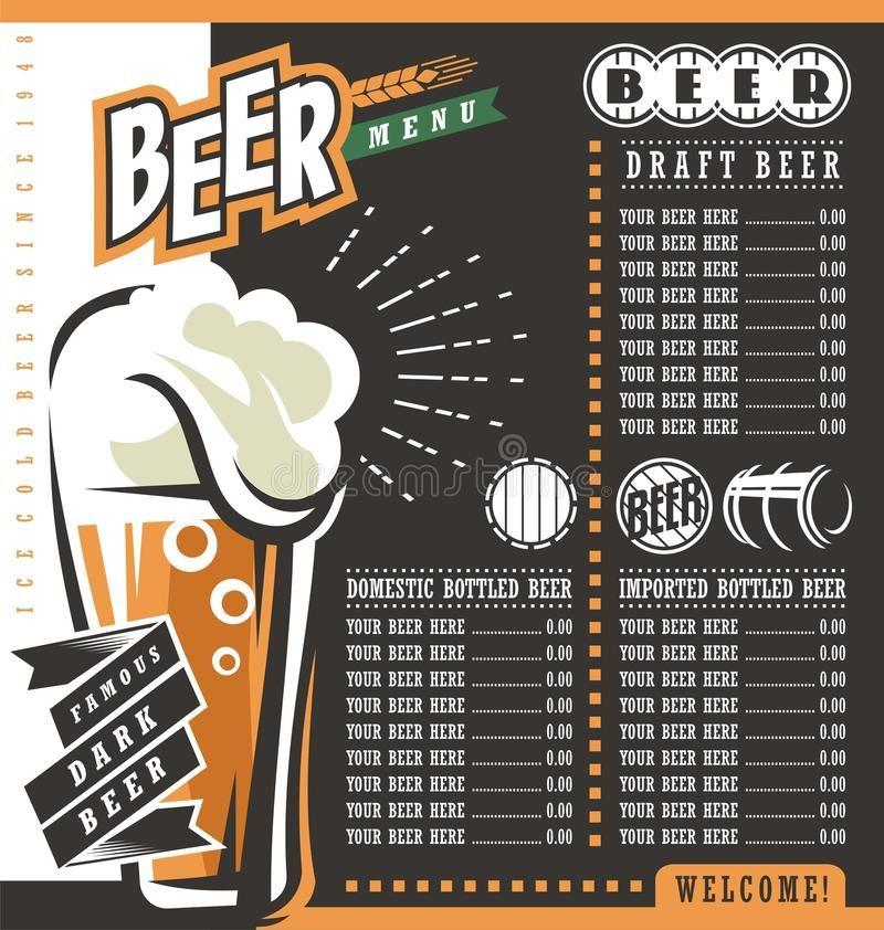 Beer Menu Retro Design Template Pub Price List With Famous Dark