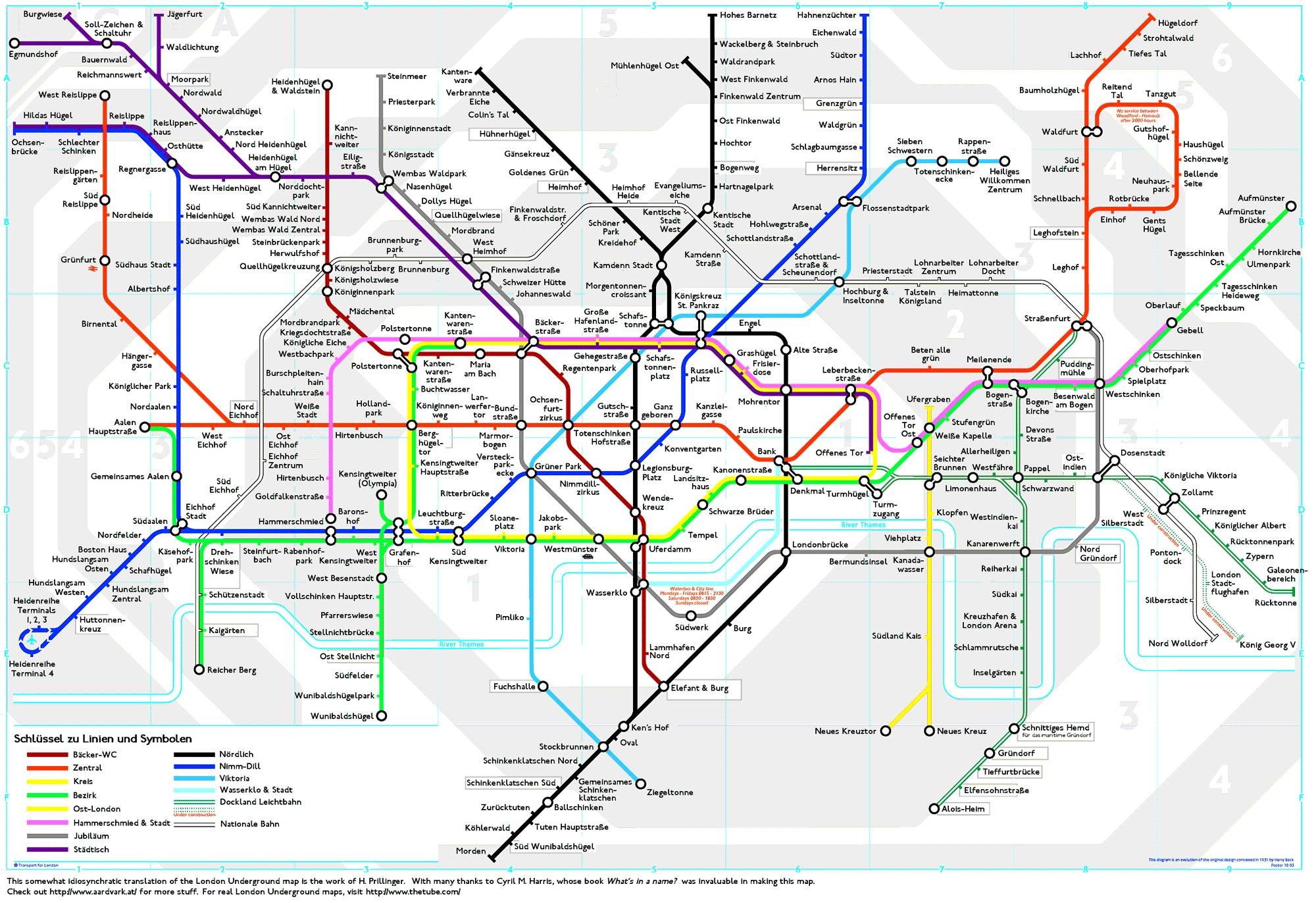 London Underground Map translated into German