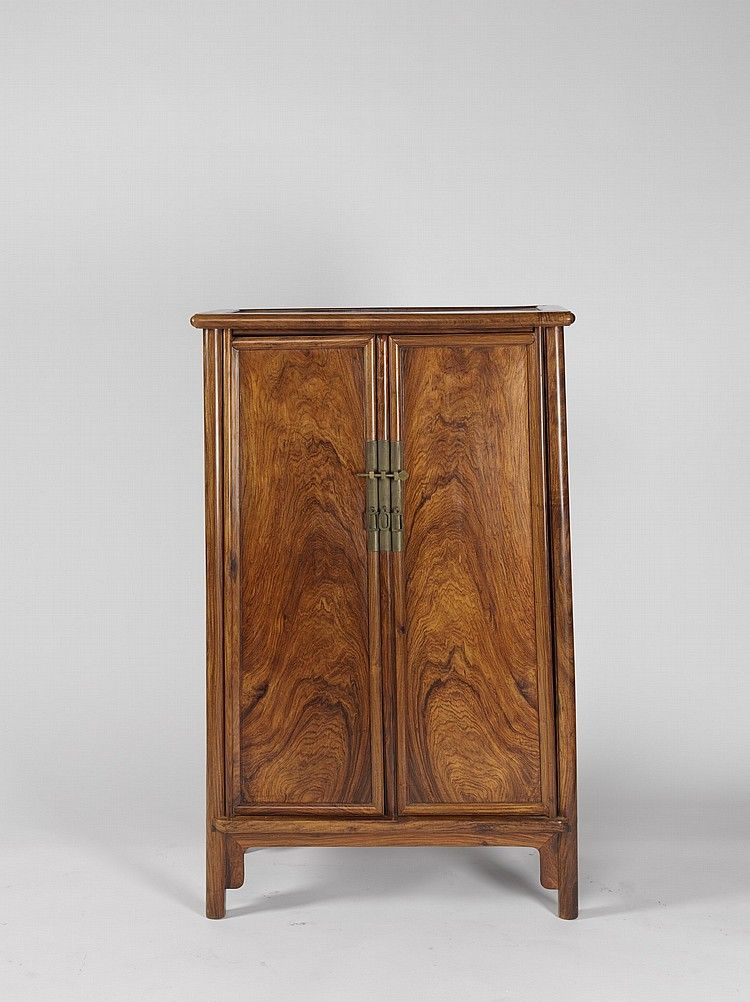 A ROUND-CORNERED HUANGHUALI TWO-DOOR CABINET | the teapot ...