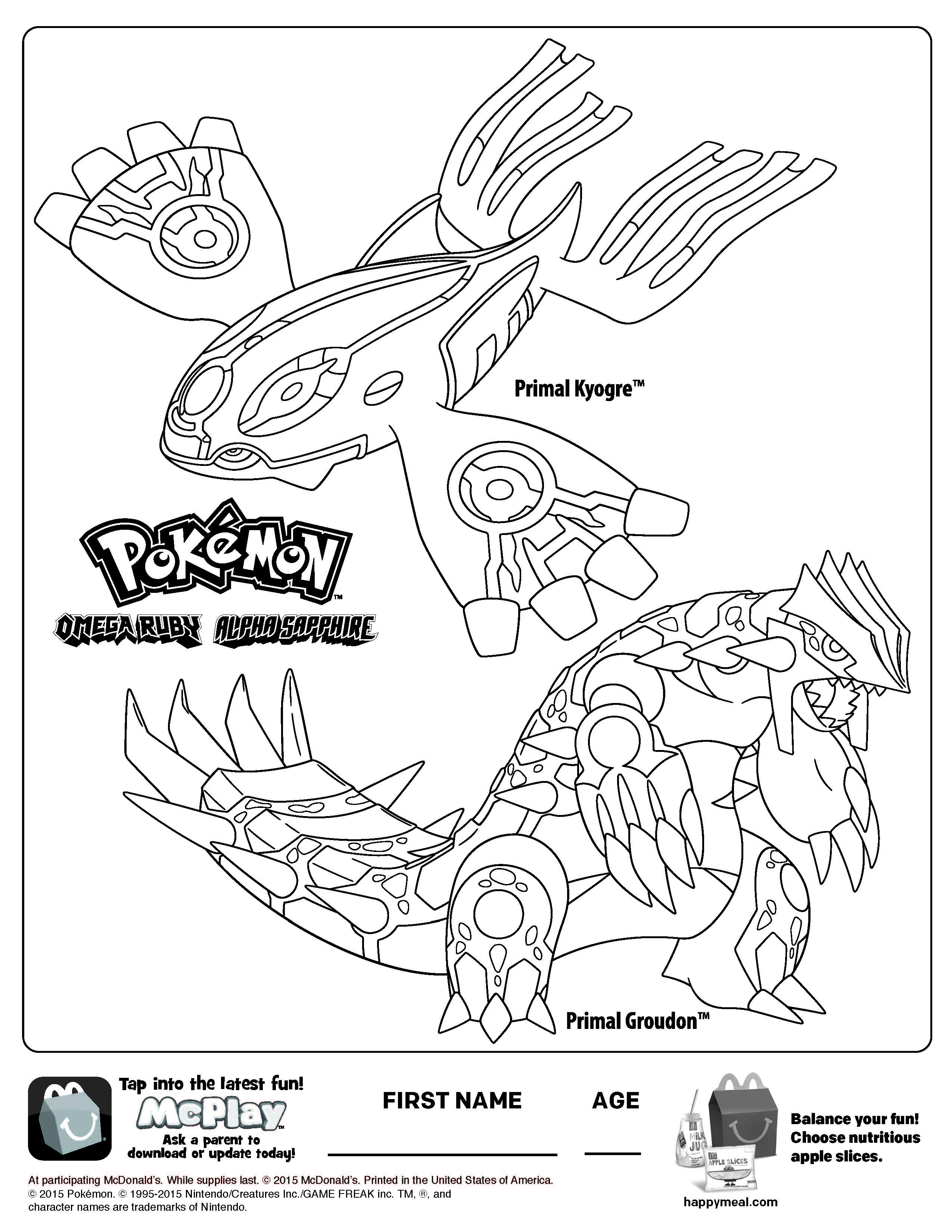 Uncategorized Kyogre Coloring Pages free mcdonalds happy meal pokemon printable coloring page page