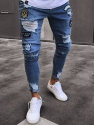 ericdress / Mens Clothing Blue Ripped Worn Skinny Jeans
