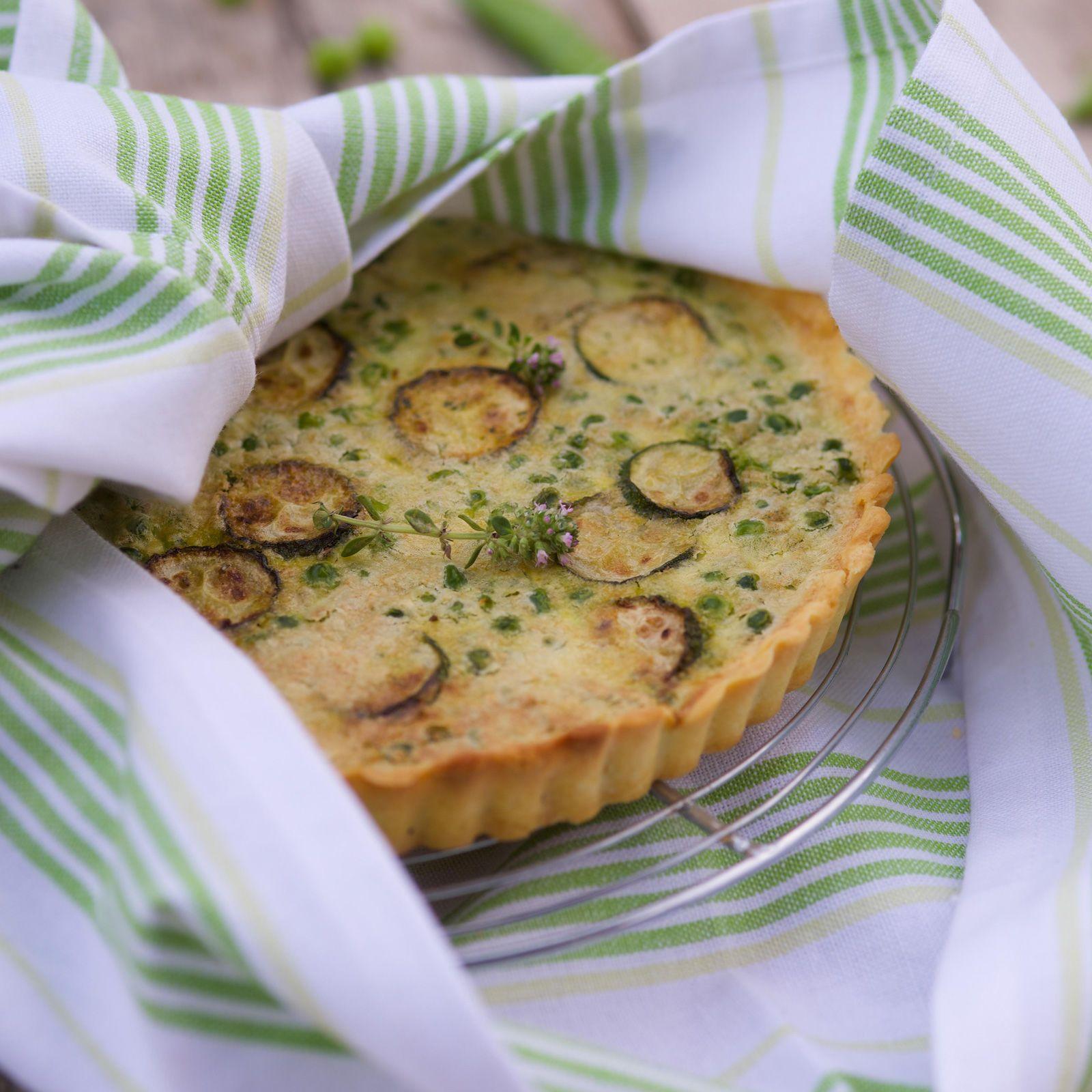 Découvrez la recette de la tarte petits pois courgettes