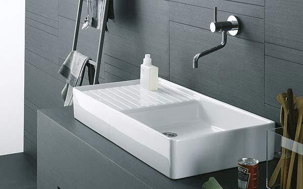 Évier à poser granit blanc Kümbad KIWI 1 grand bac 1 égouttoir - evier cuisine ceramique a poser