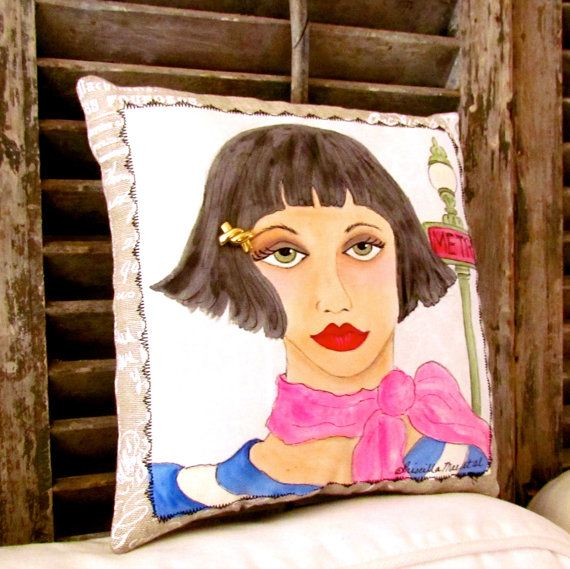 ANGELIQUE FRENCH KISS Pillow,  hand painted French by priscillamae, French linen with pocket on back of pillow holding a lovely French quote.