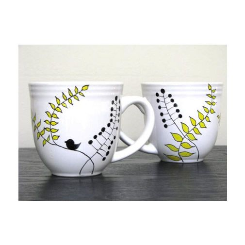 Hand Painted Cups- Modern Leaf Design