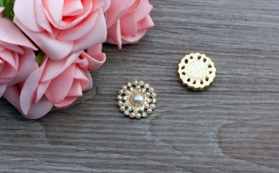 5 White Pearl Rhinestone Gold Embellishments by LovelyLittleTouch