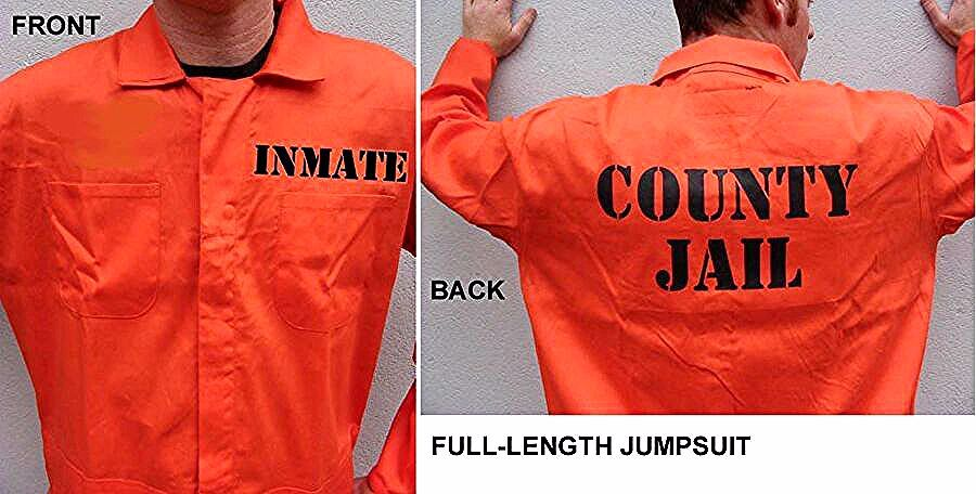 PRISON JAIL INMATE JUMPSUIT Halloween Costume HIGHEST QUALITY
