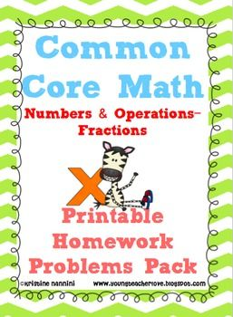 5th Grade Math Review or Homework Problems Fractions Test