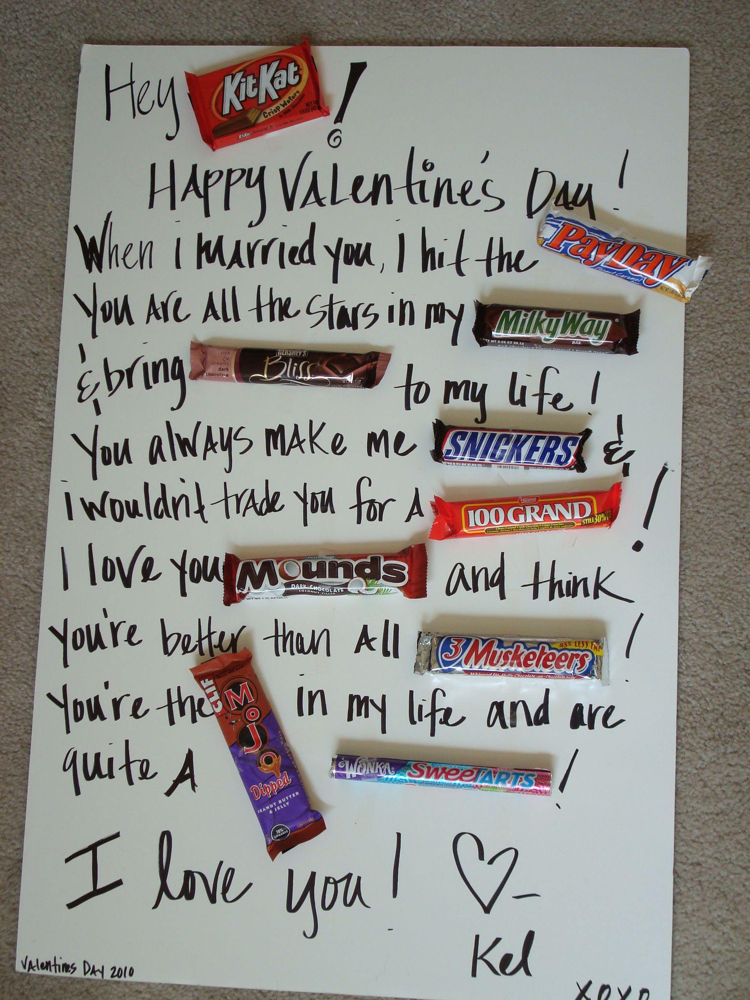 Happy Valentine S Day Messages Using Candy Bars Him A Big Poster – Good Ideas for Valentines Day Cards