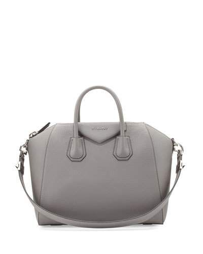 V32VC Givenchy Antigona Medium Leather Satchel Bag, Gray | The Bag ...