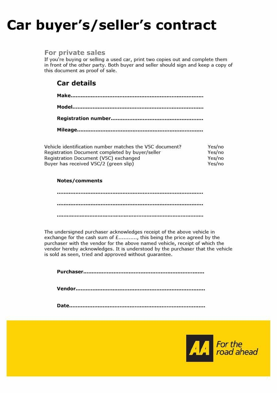 Car Purchase Contract Car Purchase Contract Template Purchase