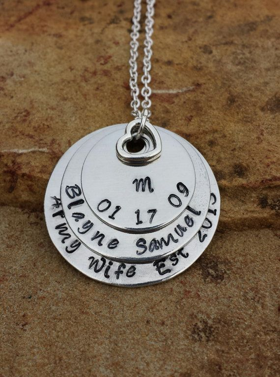 Custom made metal stamped jewelry - army wife, wedding date, birthdate, personalized, names, initial, heart, charm, layered necklace - https://www.etsy.com/listing/183566306/custom-order-3-layered-necklace-ashley