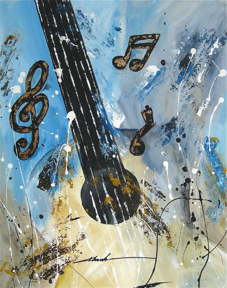 Original and Signed art abstract  painting guitar  music notes  by Khanh Ha USA #Abstract