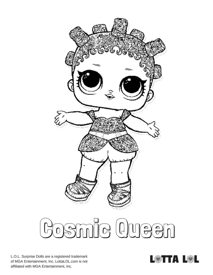 Cosmic Queen Glitter Coloring Page Lotta LOL LOL Glitter