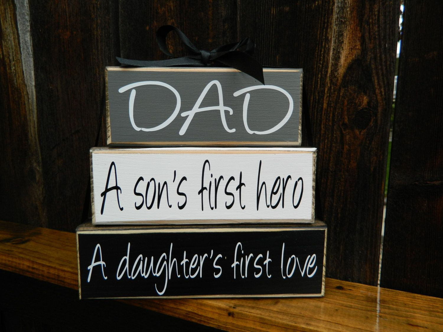 Fathers Day Stacker Blocksdad A Sons First Hero A Daughters Etsy Fathers Day Daddy Day Wood Crafts