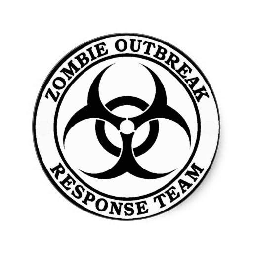 Zombie Outbreak Response Team Skull Vinyl Sticker Decal Red Black White