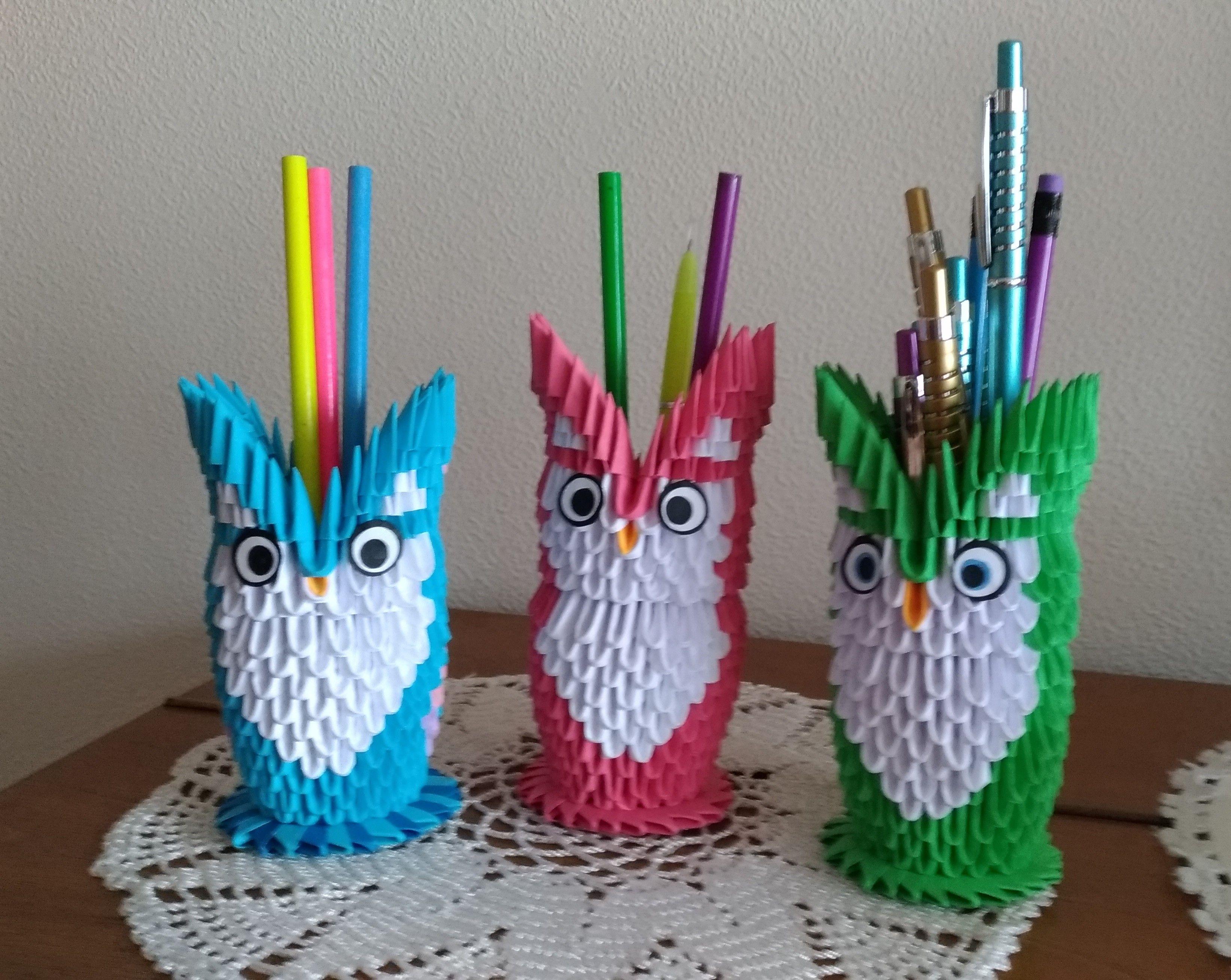 Оригами из треугольных модулей: пошаговые мастер-классы по изготовлению вазы, лебедя, совы и кошки
