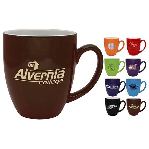 Promotional 16 oz. Bistro Coffee Mug with White Inside | Customized Ceramic Mugs | Promotional Ceramic Mugs