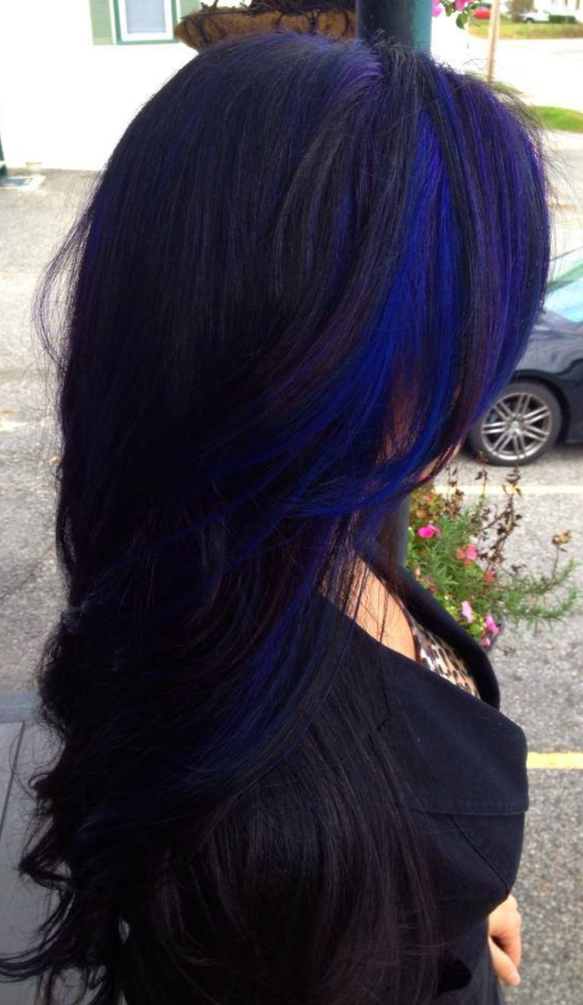 Hair by Megan at Voila blue and purple streak with black base