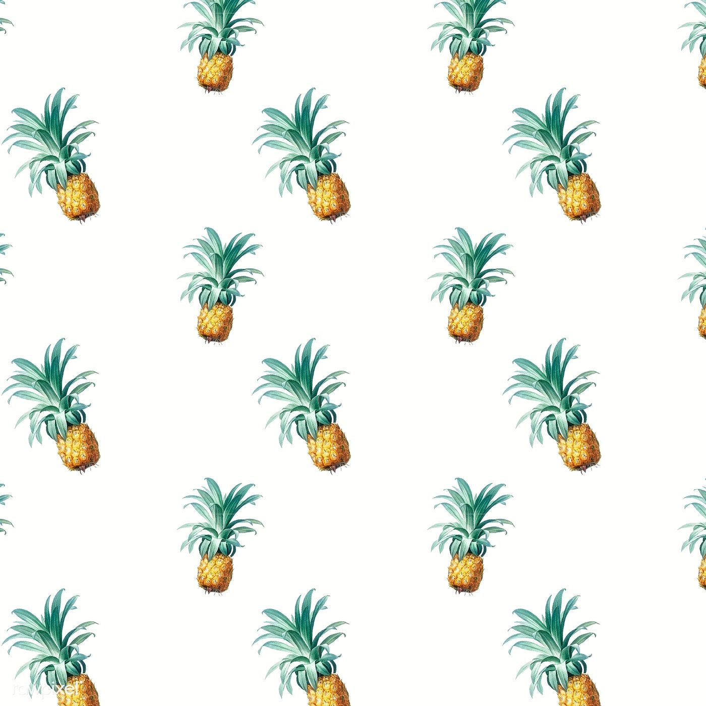 Tropical pineapple wallpaper vintage illustration | free ...