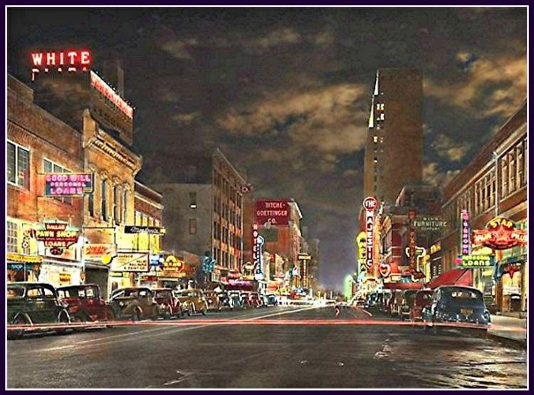 Downtown Dallas At Night Elm Street Great Historical Photos Of