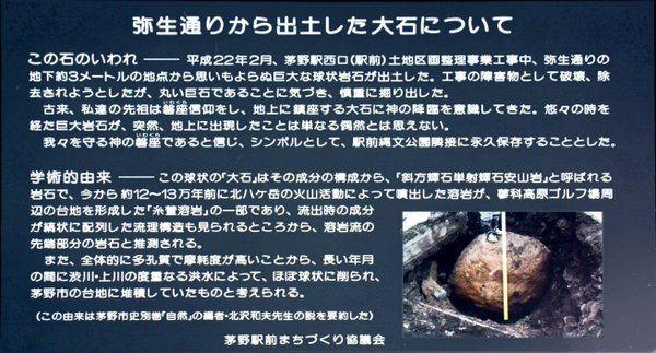 農民丁 @noumin_T  2015年9月5日 茅野駅の前にある大変おもしろい大岩。横に「いわれ」を書いた看板があるんだけど、内容が「工事で丸い巨岩が出たから何かあると思って慎重に掘り出したけど、別に何でも無かったものの、こんな事が起こるのは奇跡的だと思い祀った」っていう。