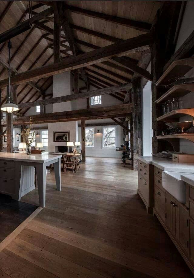 Central Fireplace In Open Plan Barn Home Barn Home