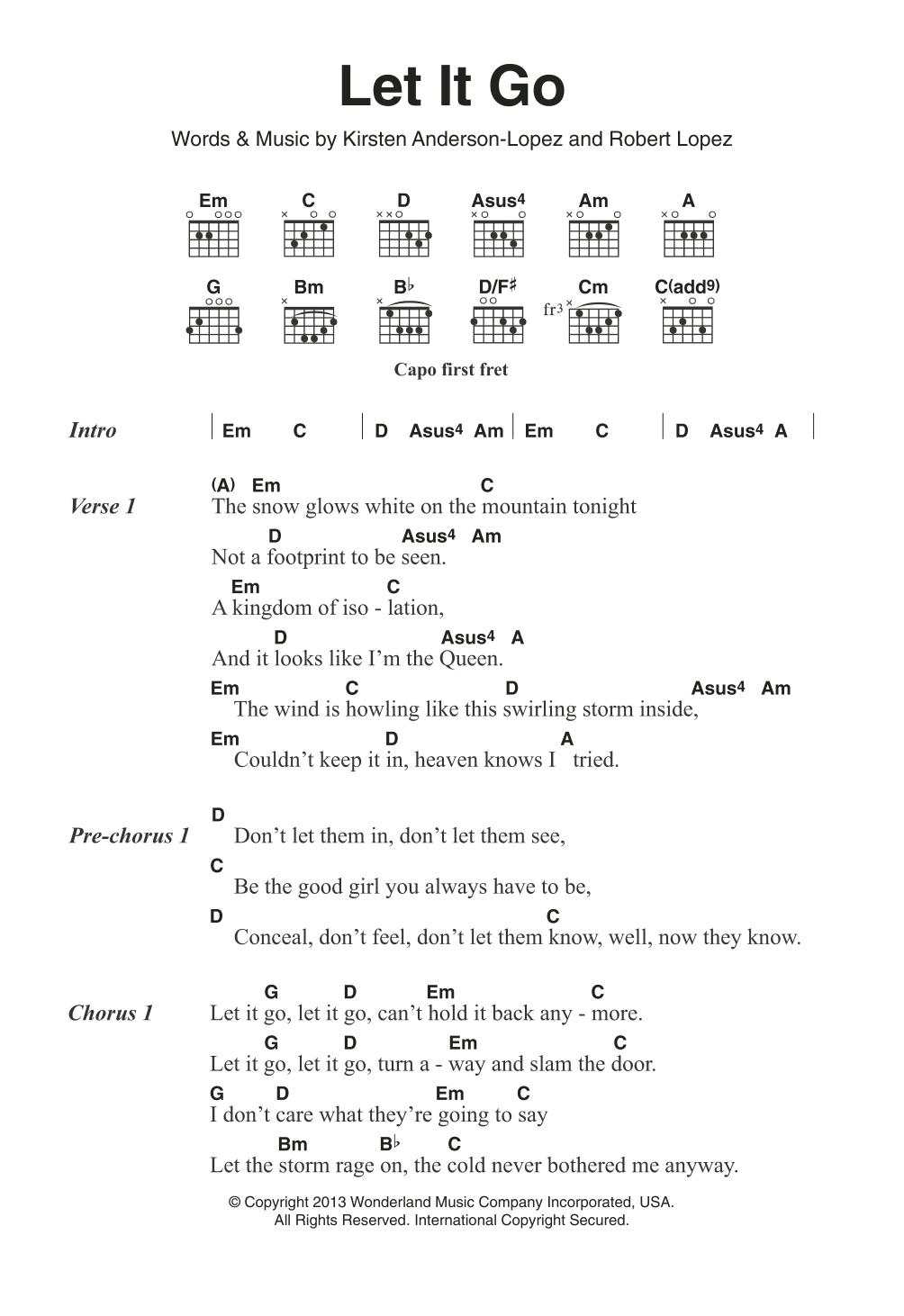 Let It Go From Frozen Sheet Music Idina Menzel Guitar Chords Lyrics Guitar Chords And Lyrics Guitar Chords For Songs Easy Guitar Songs Chords