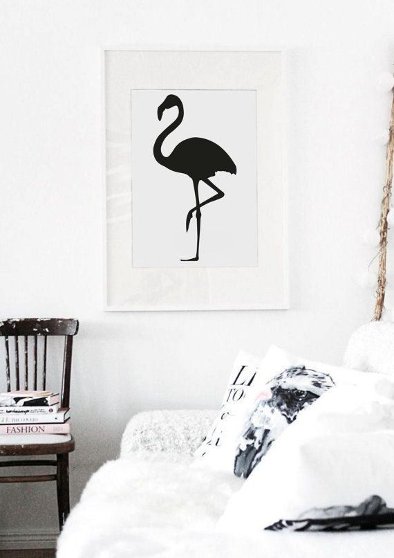 Flamingo Silhouette Black and White Typography by lettersonlove, £10.00
