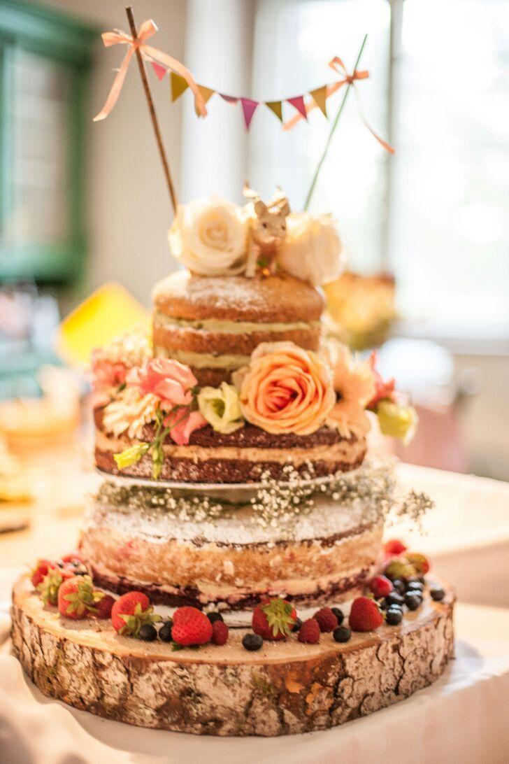 Homemade wedding cake; all vegan; naked cake; vintage inspired
