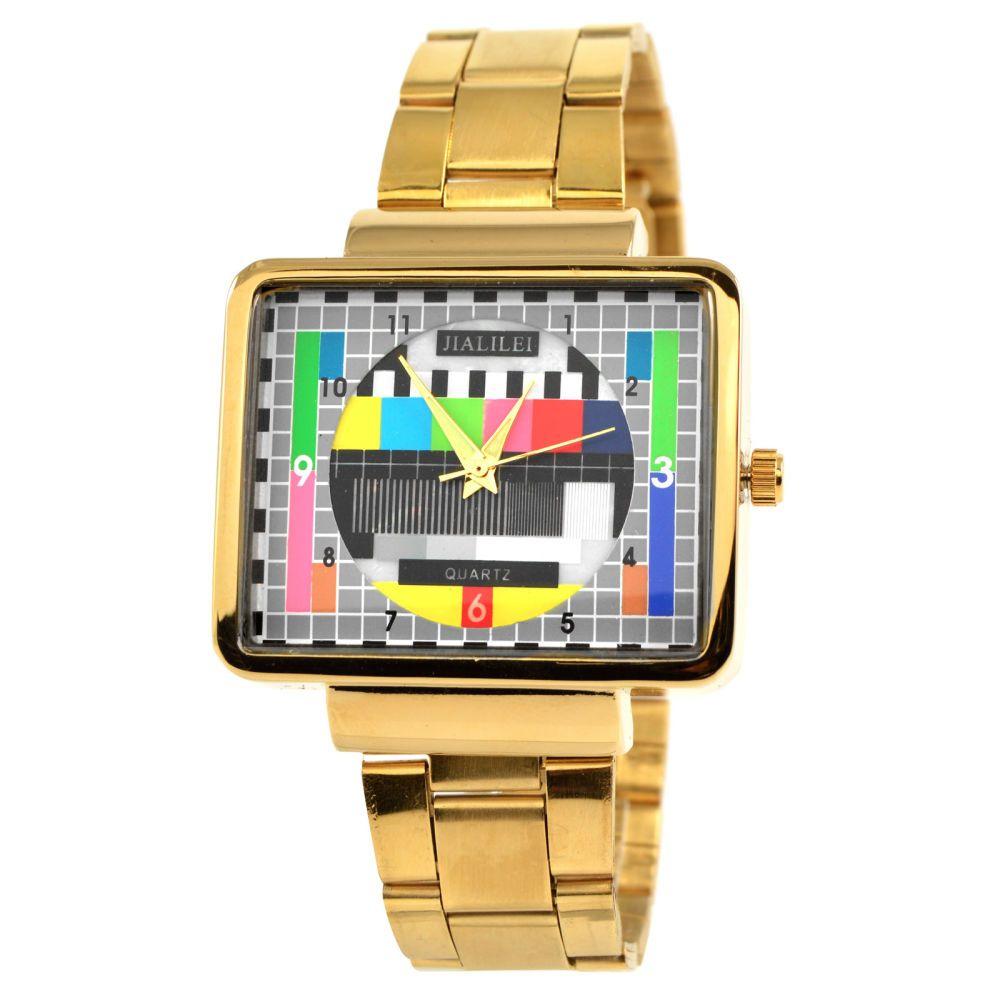 Goldene Retro Uhr Mit Tv Design Auf Lager Fort Tempus Retro Uhr Design