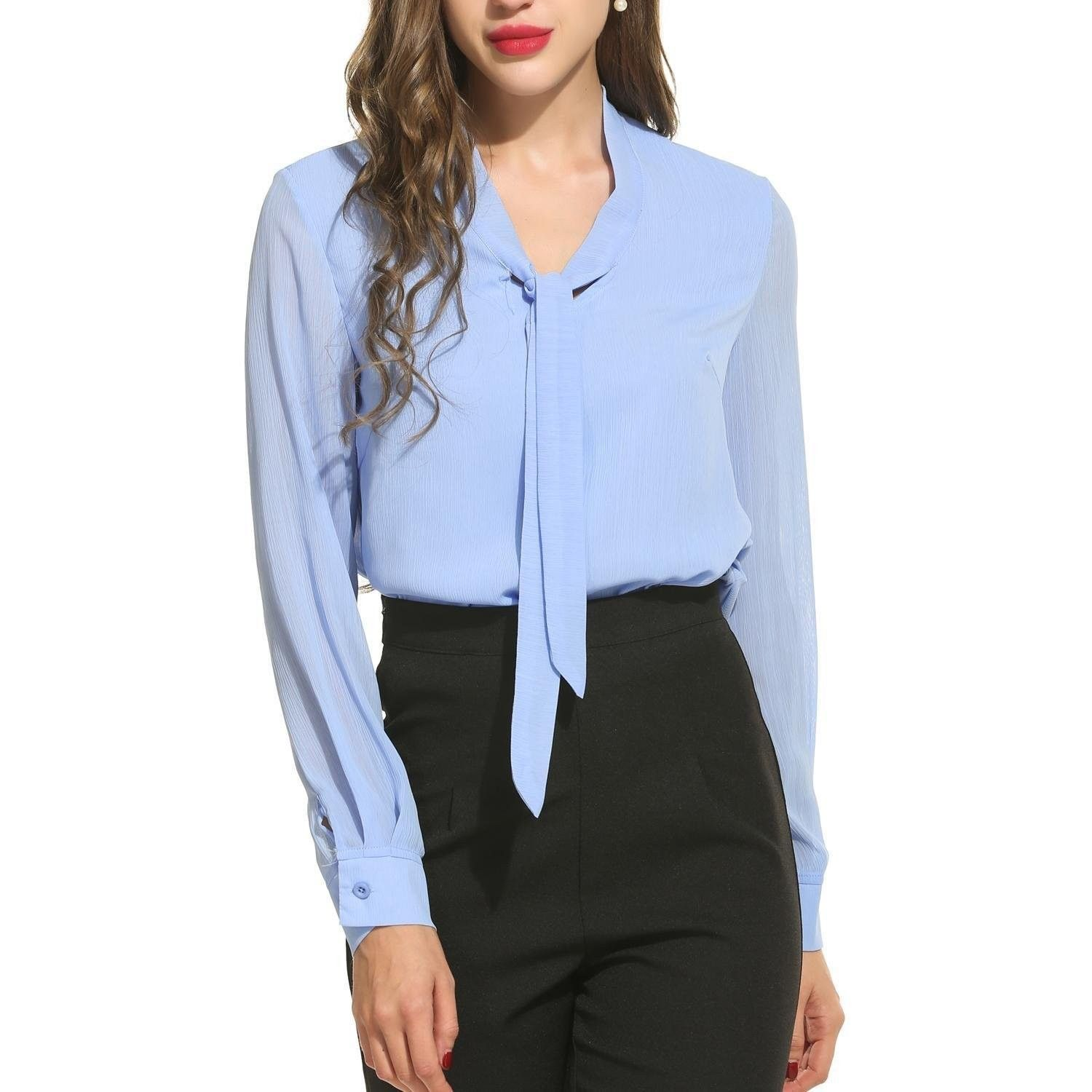 e3225064321a7a Women Chiffon Blouses Long Sleeve Solid Tie Bow Neck Casual Formal Shirt  Tops - Type1 Light