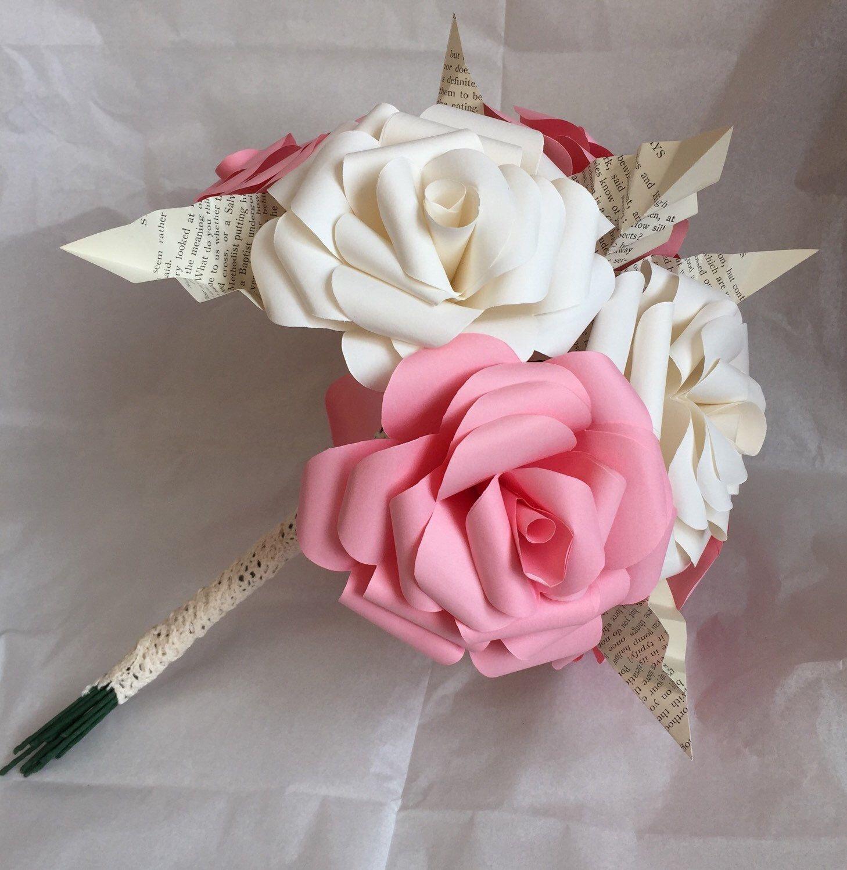 Pink paper rose bridesmaid bouquet paper flower bouquet wedding