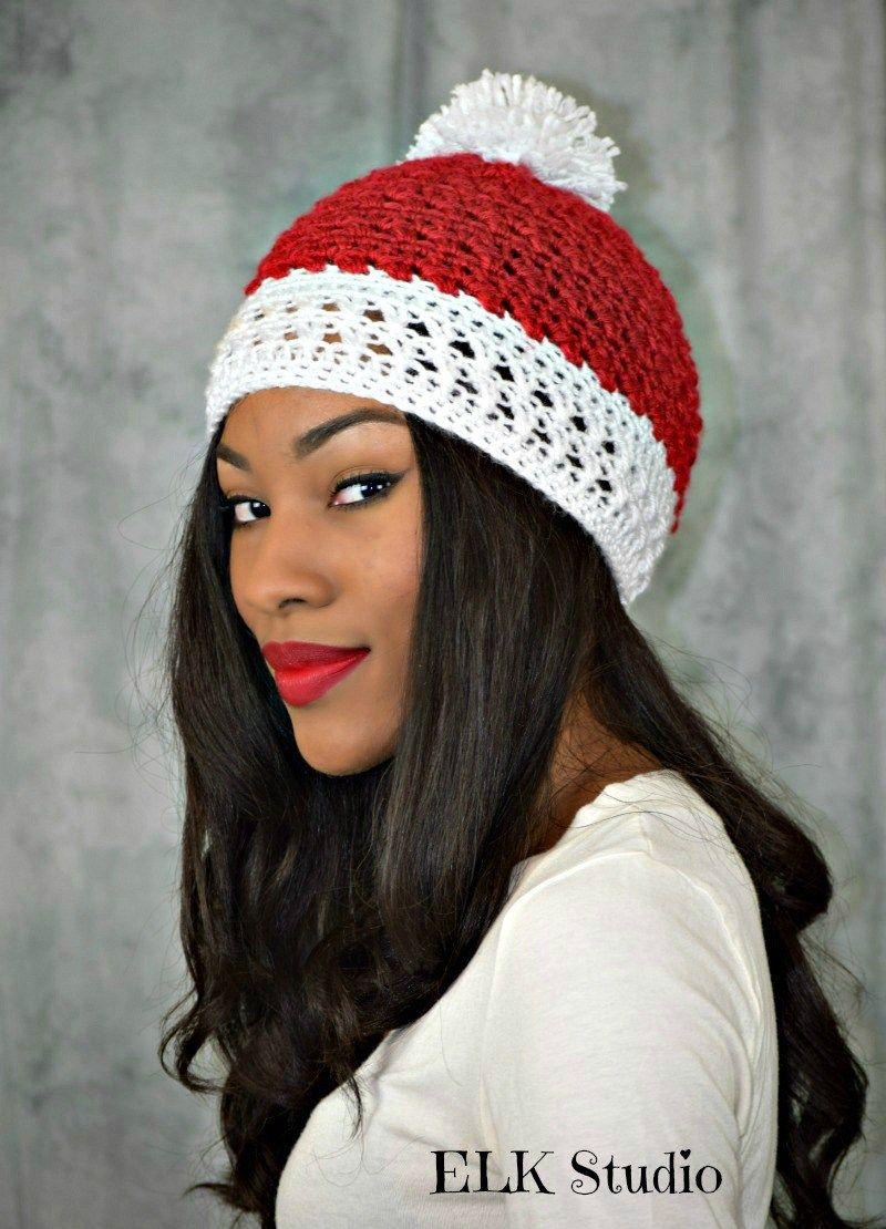 Peppermint Kisses Crochet Beanie by ELK Studio | Lugares para ...
