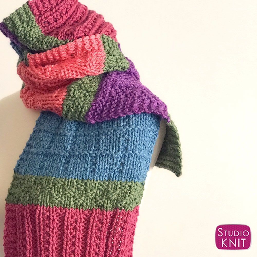 Easy Color Block Scarf Knitting Pattern | Knitting ...