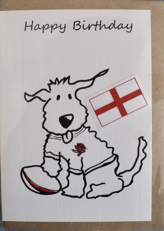 Birthday Card England Rugby Dog Greetings Card Animal Etsy Birthday Cards Dog Greeting Cards Animal Cards
