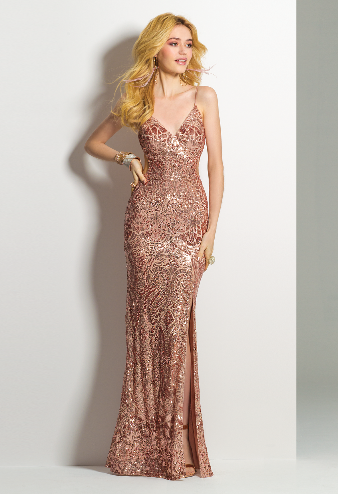 Look And Feel Like A Million Bucks In This Long Evening Gown A Flawless Prom Dress The Spaghetti Straps Fully Sequi Dresses Prom Dresses Wedding Guest Dress [ 1732 x 1184 Pixel ]